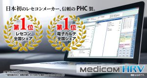 PHCは、電子カルテ全国シェア第1位。レセコンの全国シェアも第1位となっております。